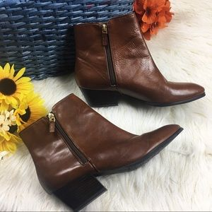Franco Sarto cognac leather ankle booties 9M